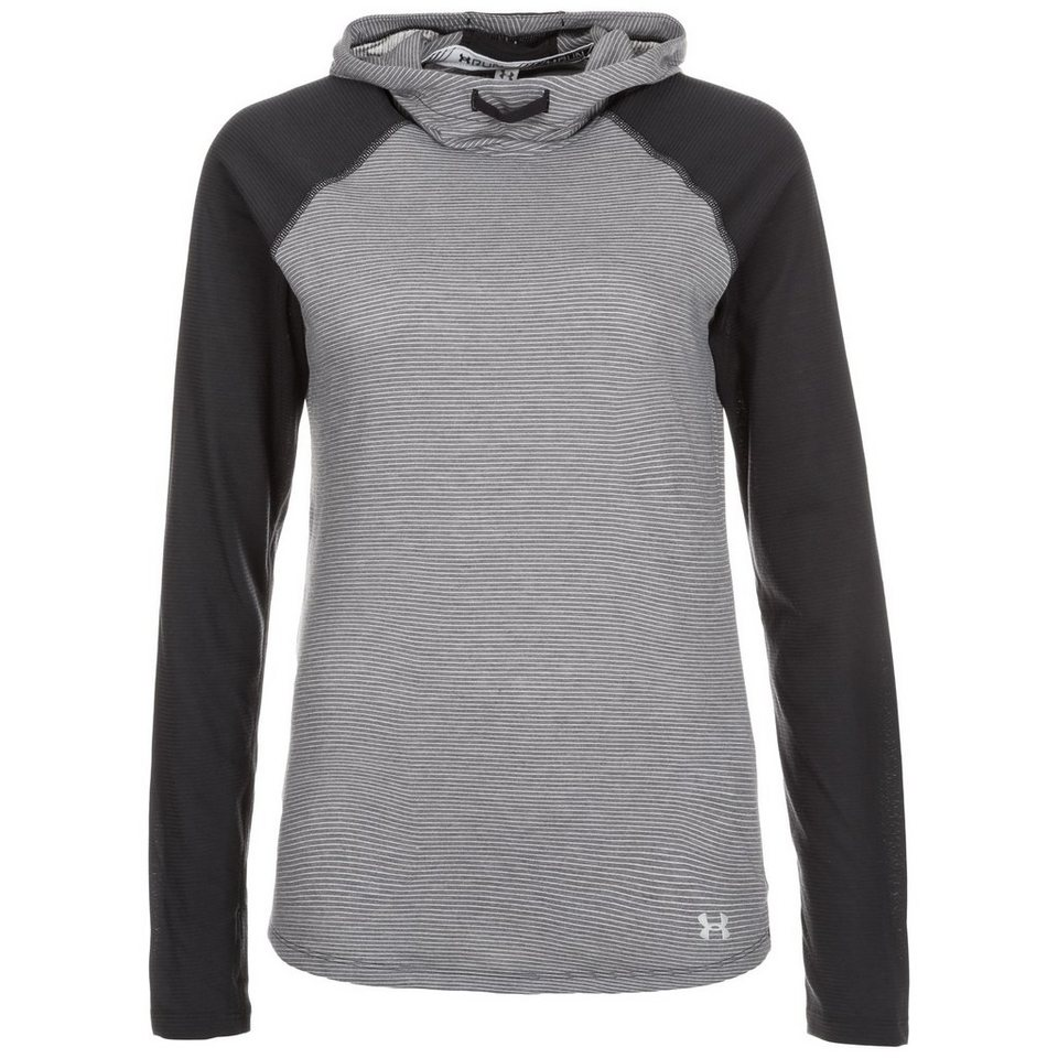 Under Armour® HeatGear Streaker Laufkapuzenpullover Damen in grau / schwarz
