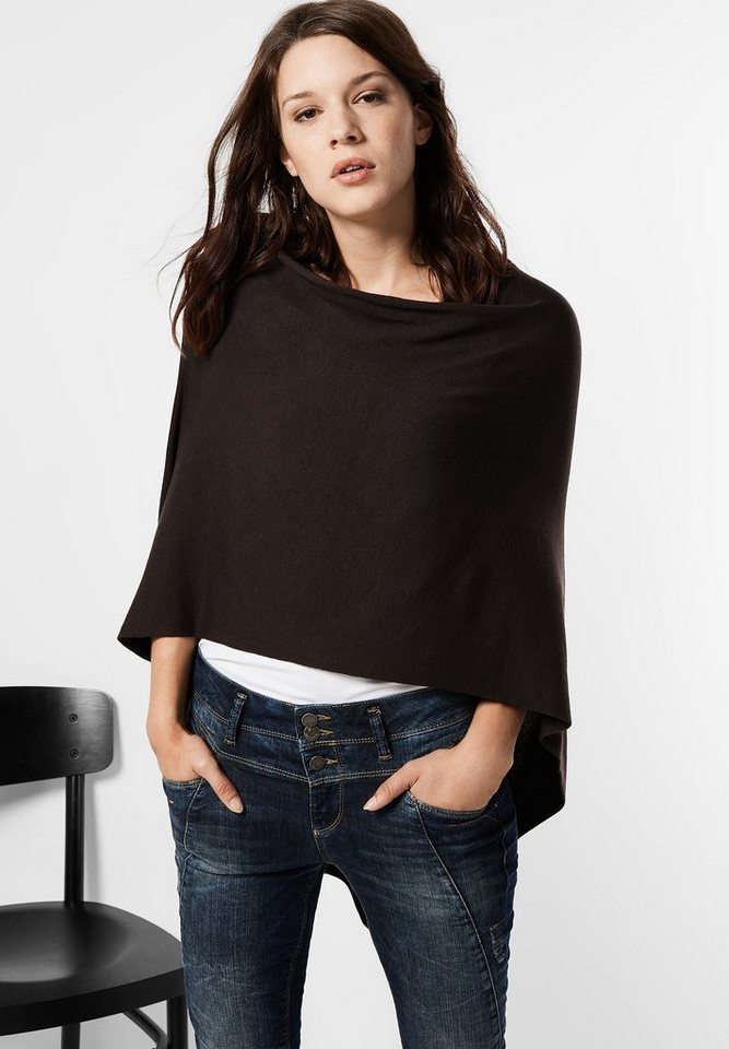 Street One Poncho aus Feinstrick Kyra in chocolate brown