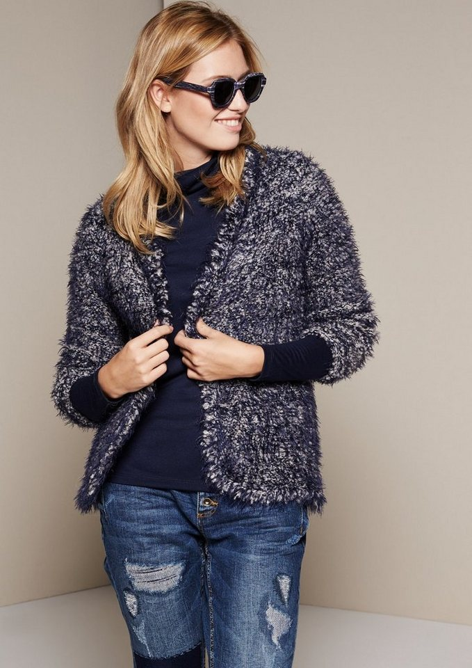 COMMA Flauschige Langgarn-Strickjacke in Two-Tone Optik in marine knit