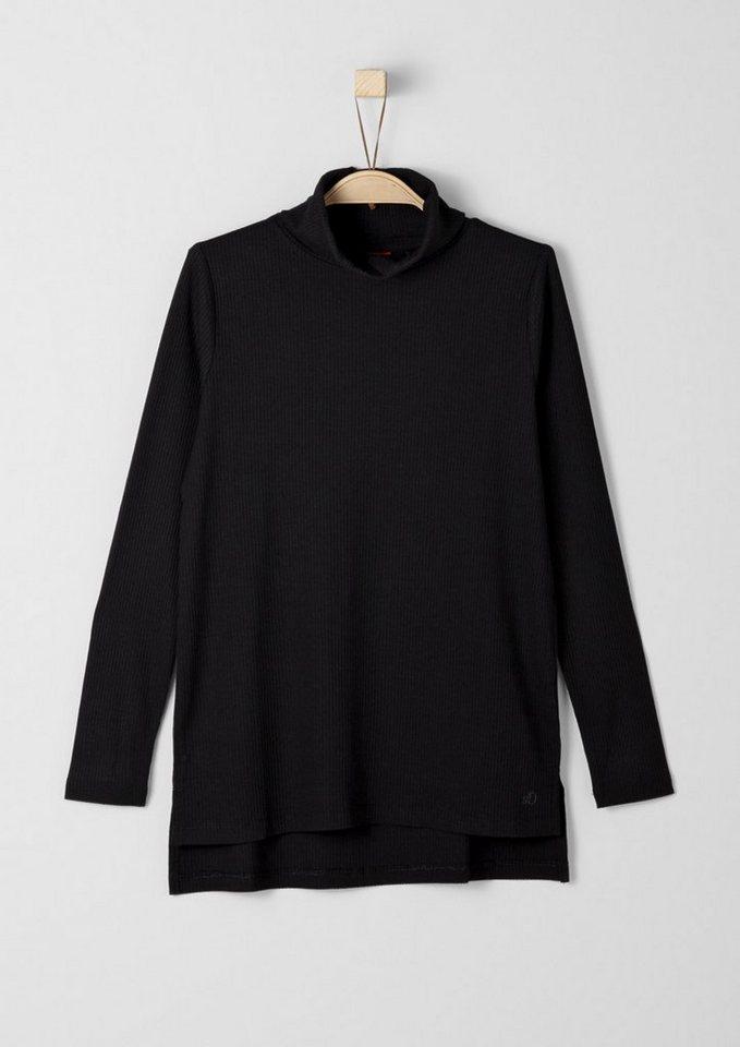 s.Oliver RED LABEL Junior Rollkragenshirt aus Feinripp für Mädchen in black