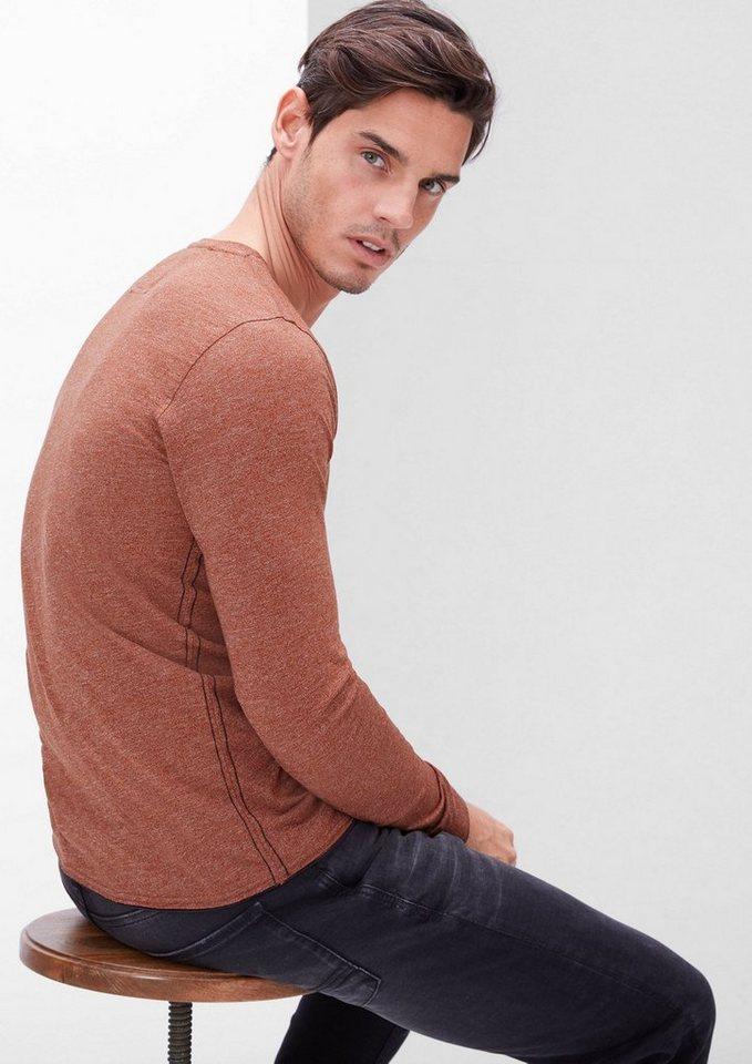 s.Oliver RED LABEL Henley-Shirt aus Melange-Jersey in navajo melange