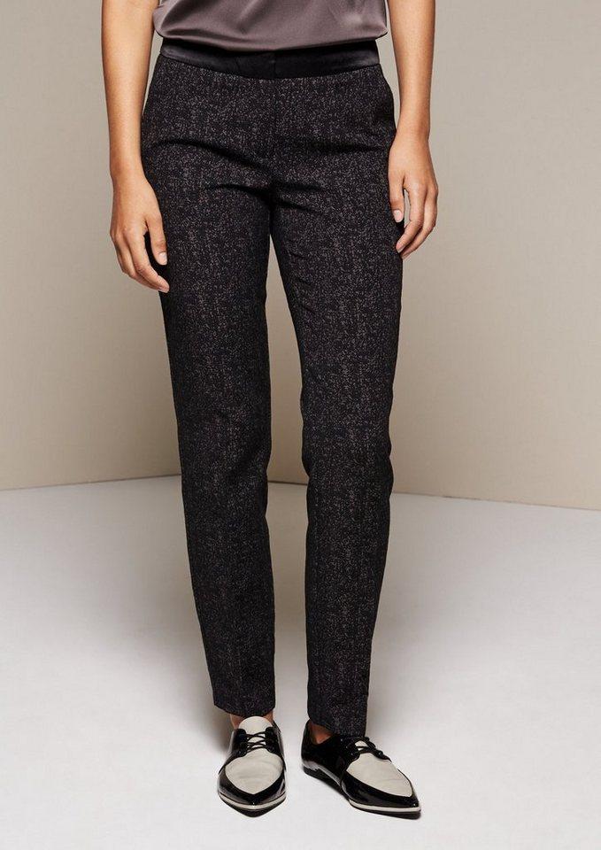 COMMA Elegante Businesspants mit Jacquardmuster in black tweed