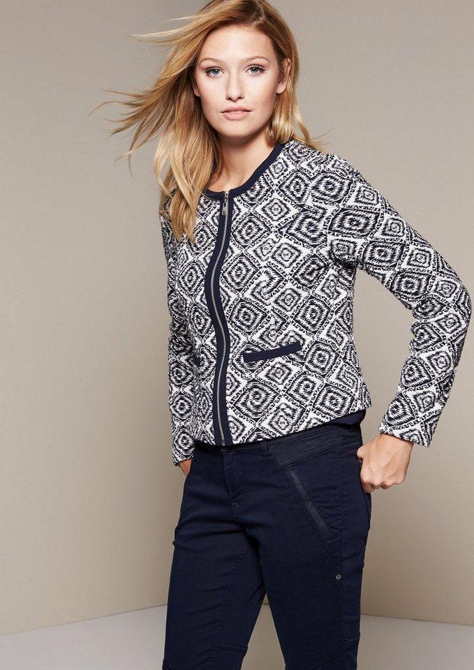 COMMA Elegantes Jäckchen mit schönem Allovermuster in marine allover knit