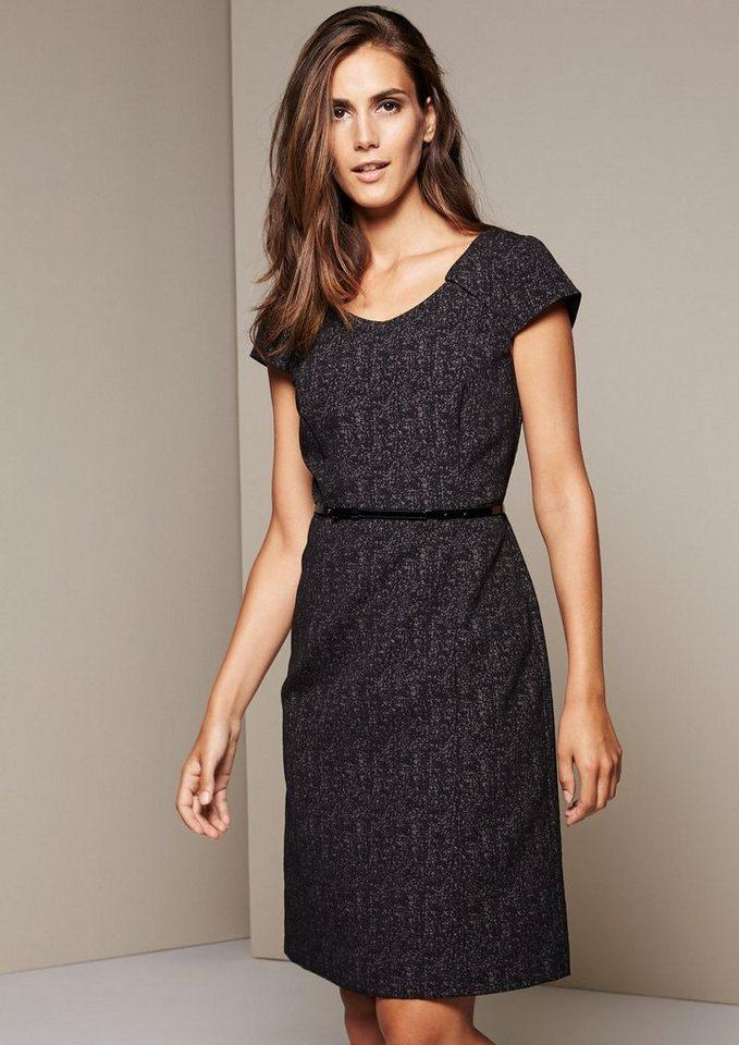 COMMA Aufregendes Businesskleid mit dekorativem Jacquardmuster in black tweed