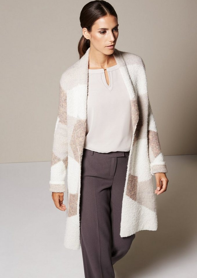 COMMA Warme Longstrickjacke mit abstrakt gestaltetem Allovermuster in rose knit