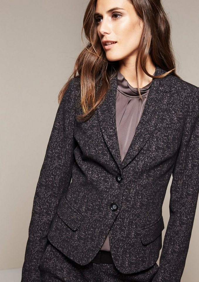 COMMA Femininer Blazer mit markantem Jacquardmuster in black tweed