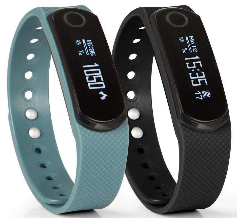 Sportplus Fitness-Armband, inklusive 2 Armbänder und Herzfrequenzmesser, »Q-Band HR SP-AT-BLE-50« in schwarz