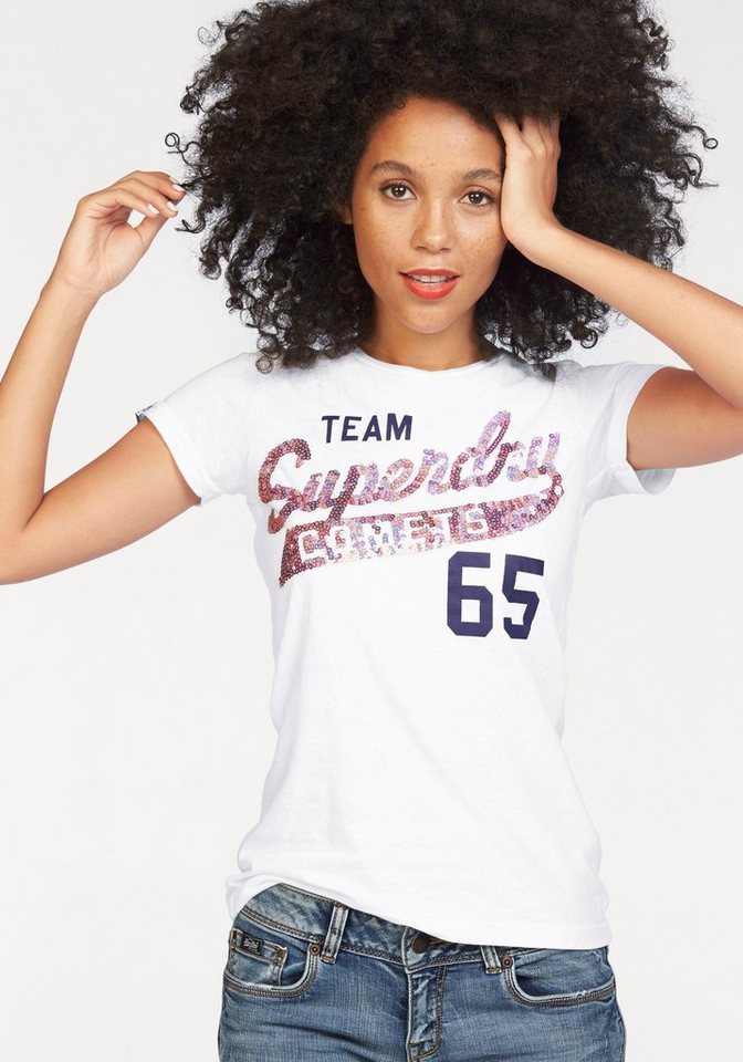 Superdry T-Shirt »SEQUIN TEAM COMETS TEE« mit Pailetten in weiß