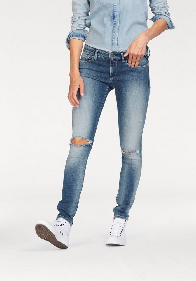 Replay Slim-fit-Jeans mit Stretch in id blue destroyed
