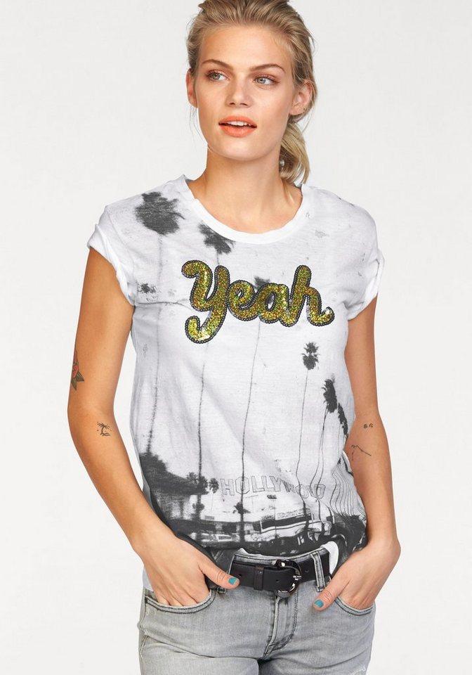 Replay T-Shirt mit Pailletten in weiß