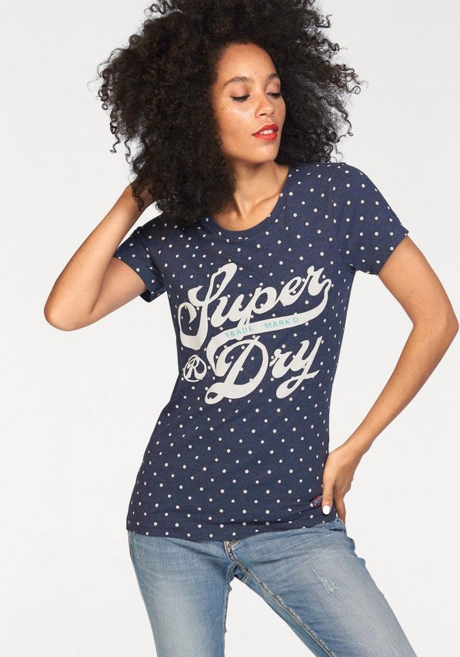 Superdry T-Shirt »TRADE MARKD ENTRY TEE« mit leicht erhabenen Frontprint in marine