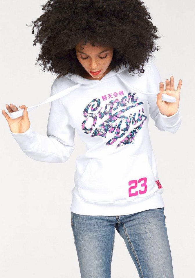 Superdry Kapuzensweatshirt »STACKER ENTRY HOOD« mti großem Frontprint in weiß