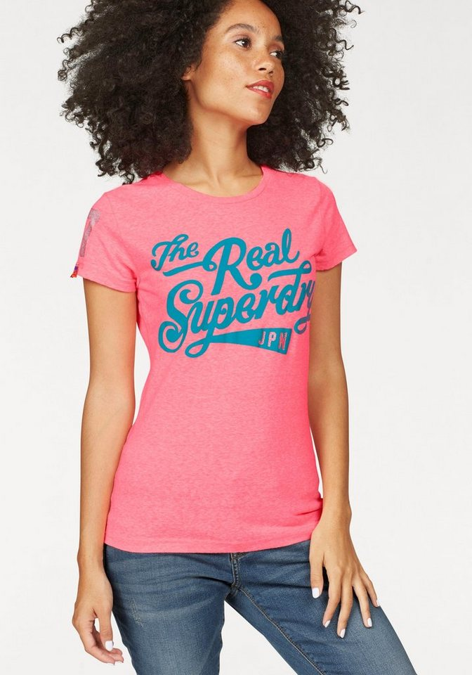 Superdry T-Shirt »The Real Brand Tee« mit Logo Glitzerdruck in pink