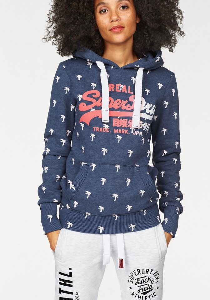 Superdry Kapuzensweatshirt »VINTAGE LOGO HOOD« mit Glitzerdruck in jeansblau