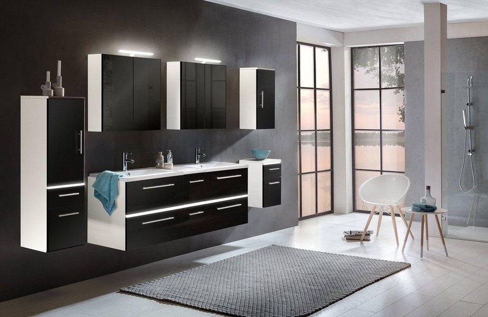 SalesFever Badmöbel-Set, Breite 150 cm, (8-tlg.) »Dalia« in weiß/schwarz