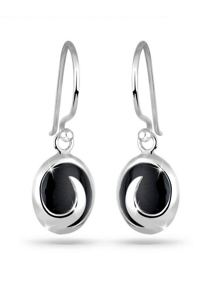 Elli Ohrringe »Onyx Wellen Edelstein 925 Silber« in Schwarz