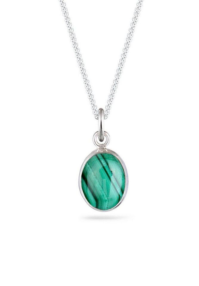 Elli Halskette »Basic Edelstein Malachit 925 Sterling Silber« in Grün
