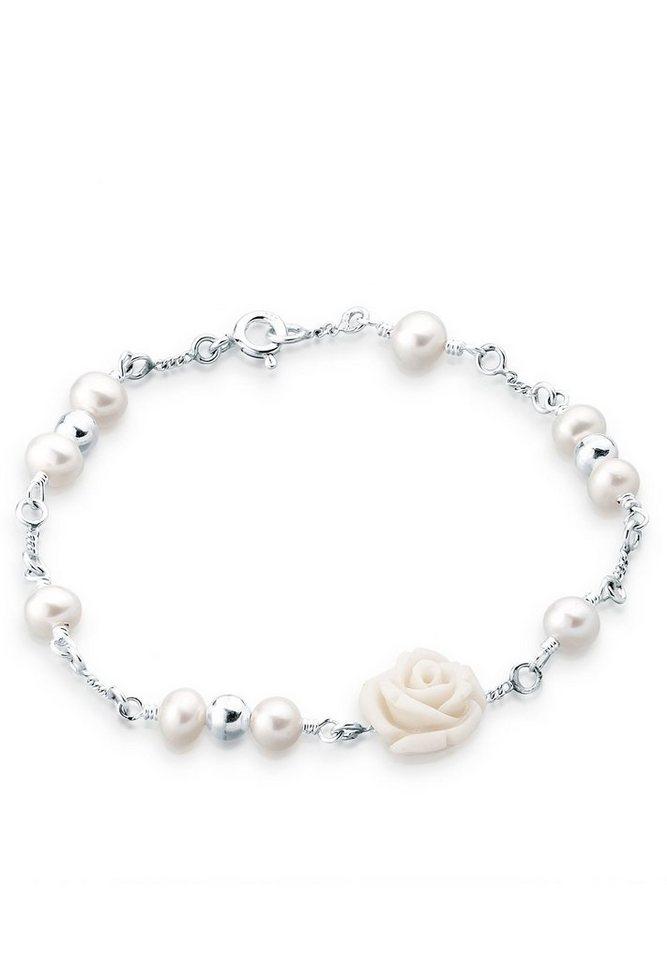 Elli Armband »Rose Süßwasserzuchtperle 925 Sterling Silber« in Weiß