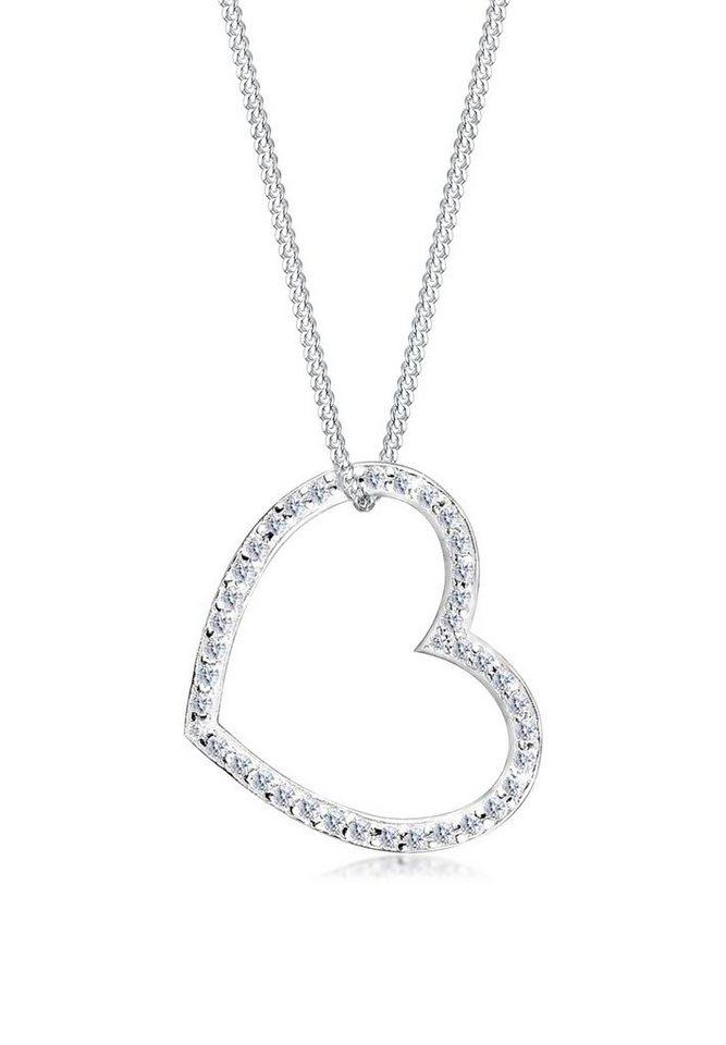 Elli Halskette »Herz-Form Zirkonia 925 Sterling Silber« in Weiß