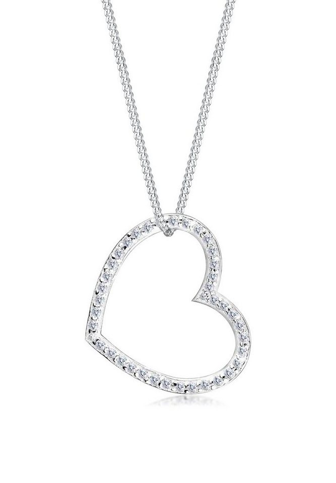 Elli Halskette »Herz Zirkonia 925 Sterling Silber« in Weiß