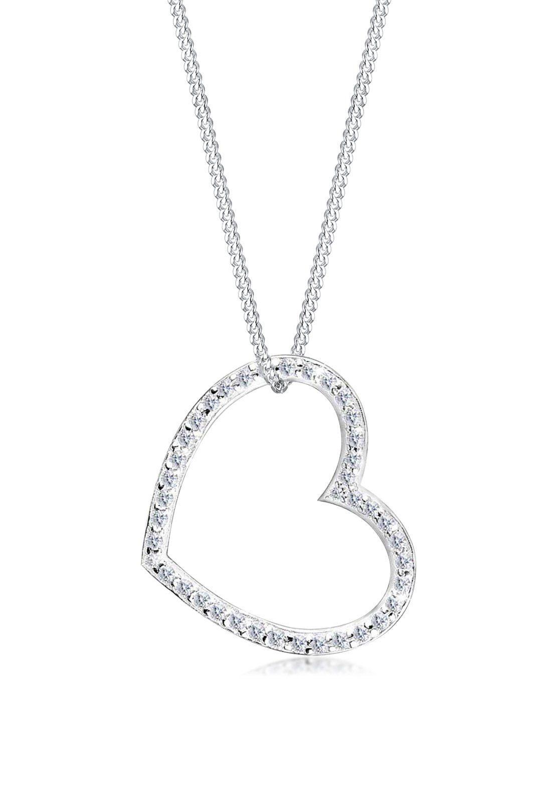 Elli Halskette »Herz-Form Zirkonia 925 Sterling Silber«