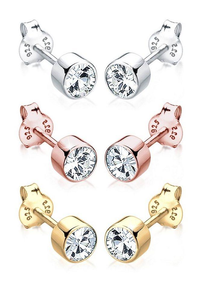 Elli Set: Ohrringe »Swarovski® Kristalle Tricolor Basic vergoldet« 3 tlg. in Weiß