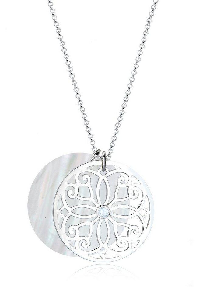 Elli Halskette »Ornament Perlmuttscheibe Topas« in Weiß