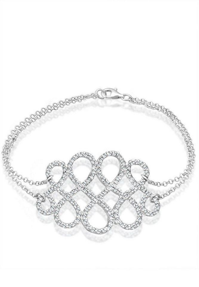Elli Armband »Knoten Swarovski® Kristalle 925 Sterling Silber« in Weiß