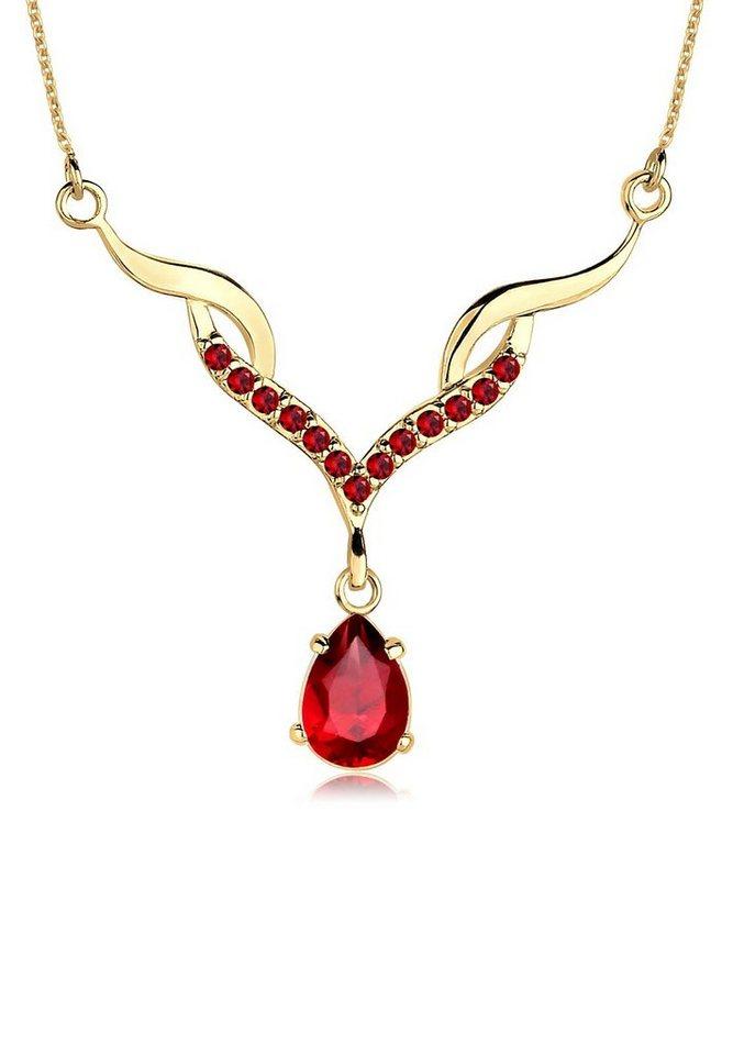 Goldhimmel Halskette »Collier Granat 925 Sterling Silber vergoldet« in Dunkelrot