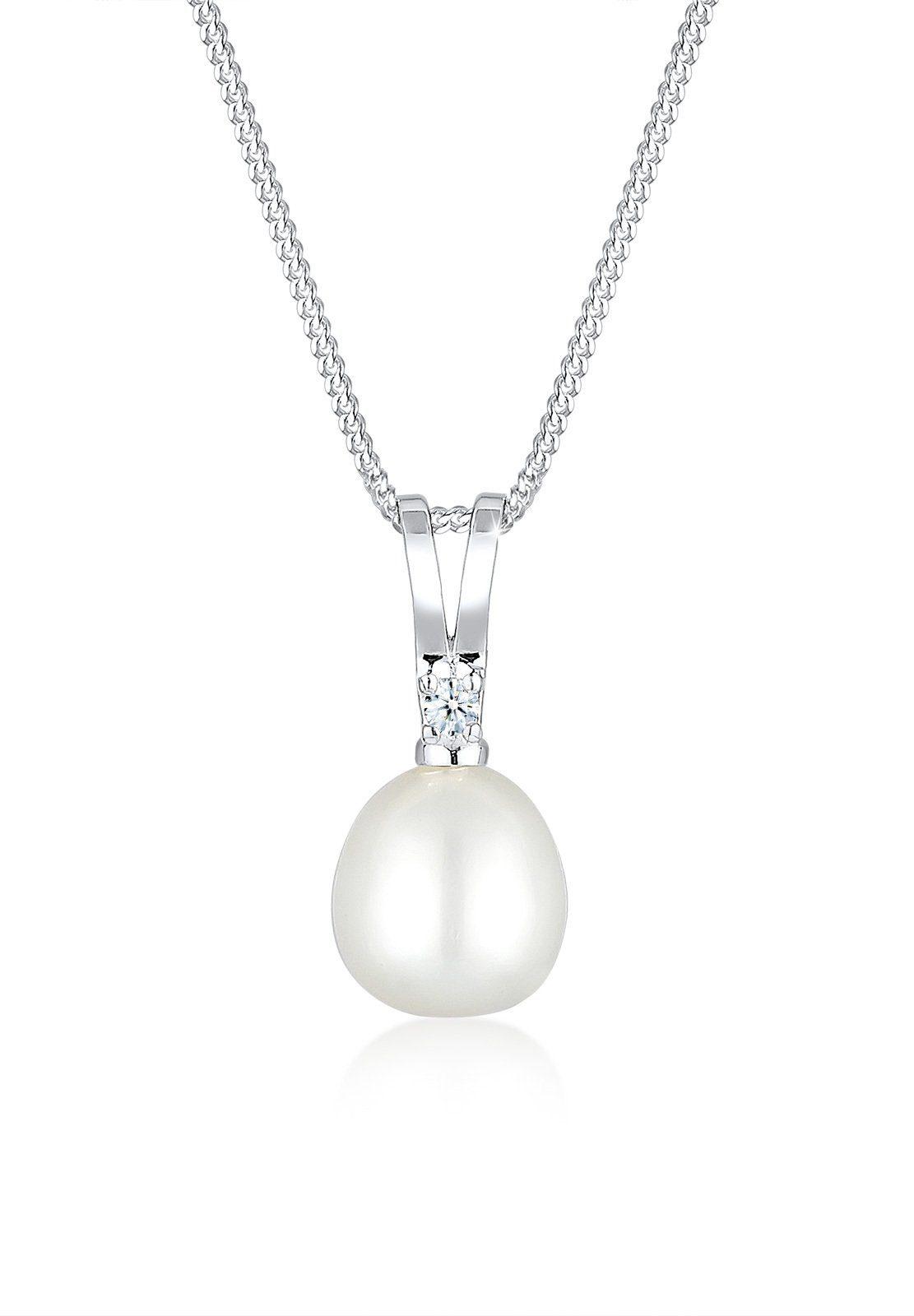 Diamore Halskette »Süßwasserzuchtperle Diamant 925 Sterling Silber«
