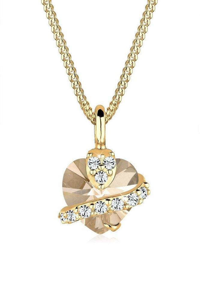 Goldhimmel Halskette »Sterling Silber Herz Swarovski Kristalle vergoldet« in Gold