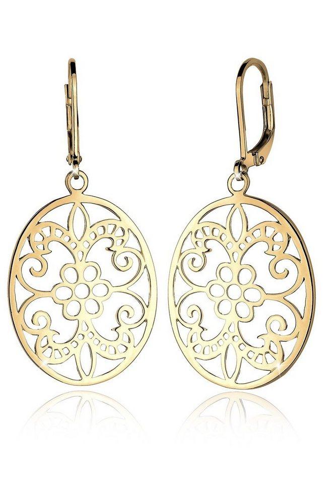 Elli Ohrringe »Ornament Orientalisch Floral Romantisch 925 Silber« in Gold