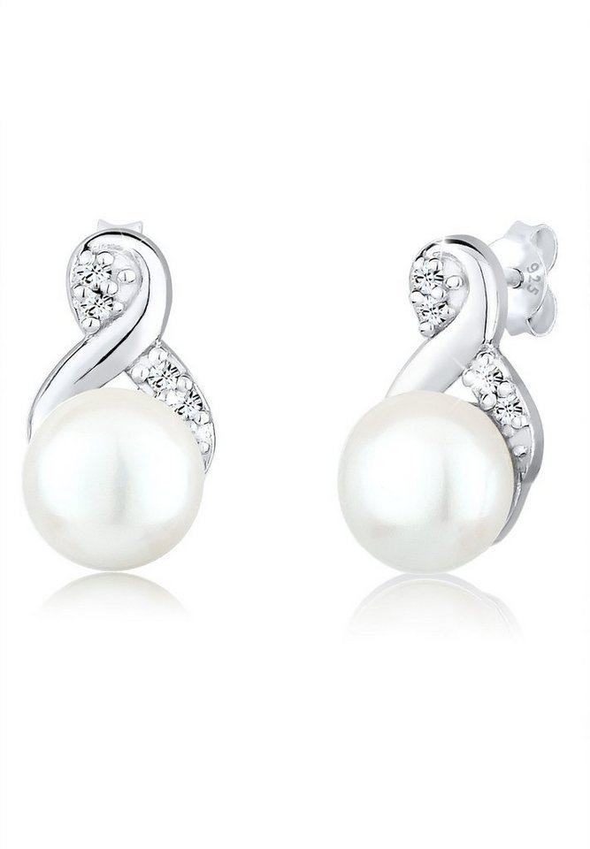 Perlu Ohrringe »Perlen Infinity Swarovski® Kristalle 925 Silber« in Silber