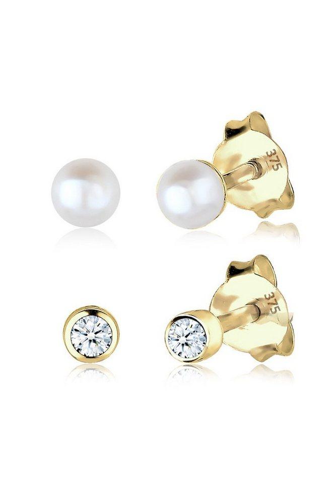 Elli Set: Ohrringe »Diamant Süßwasserzuchtperle Basic 375 Gelbgold« 2 tlg. in Weiß