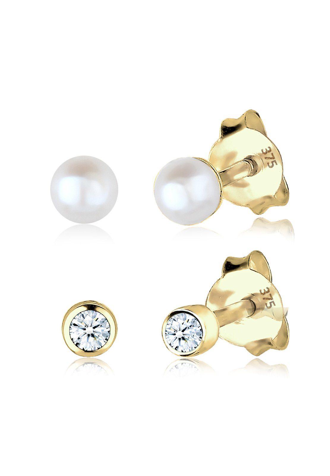 Elli Set: Ohrringe »Diamant Süßwasserzuchtperle Basic 375 Gelbgold« 2 tlg.