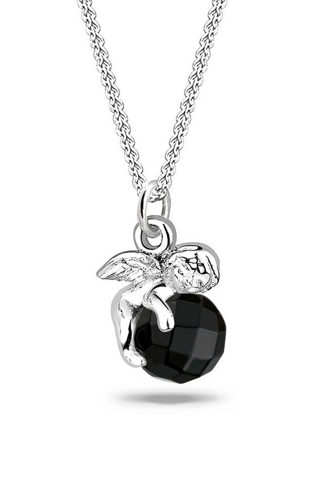 Elli Halskette »Engel Onyx Edelstein 925 Sterling Silber« in Schwarz