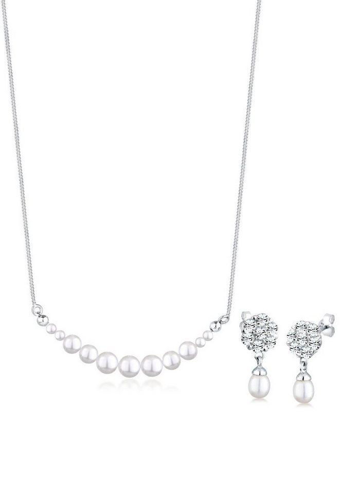 Perlu Set: Schmuckset »Perle Swarovski Kristalle 925 Sterling Silber« 2 tlg. in Weiß