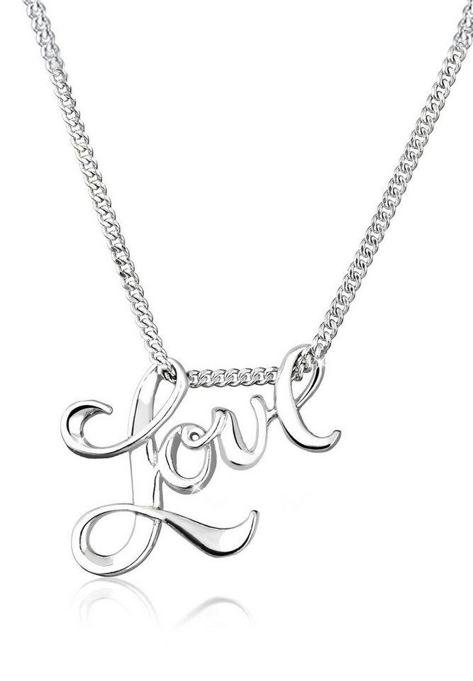 Elli Halskette »Love-Schriftzug Liebe 925 Sterling Silber« in Silber