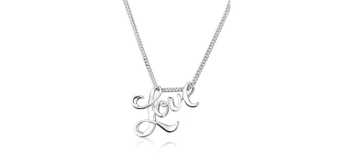 Elli Halskette »Love-Schriftzug Liebe 925 Sterling Silber«