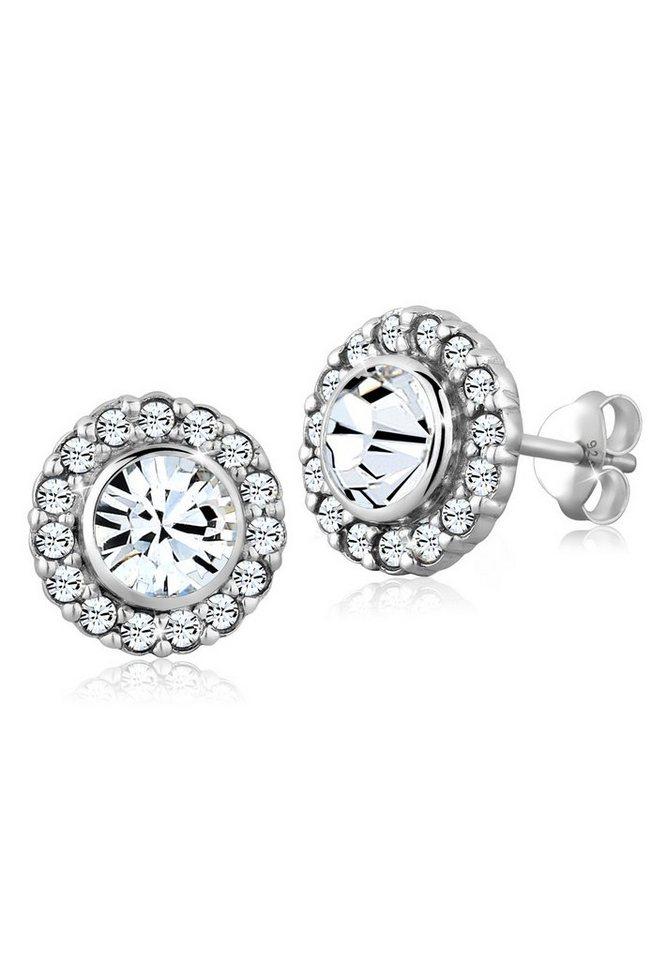 Elli Ohrringe »Blüte Swarovski® Kristalle 925 Sterling Silber« in Weiß