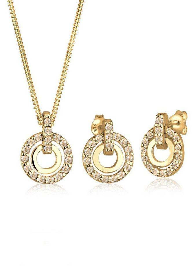 Goldhimmel Set: Schmuckset »Silber Kreis Swarovski® Kristalle« 2 tlg. in Gold