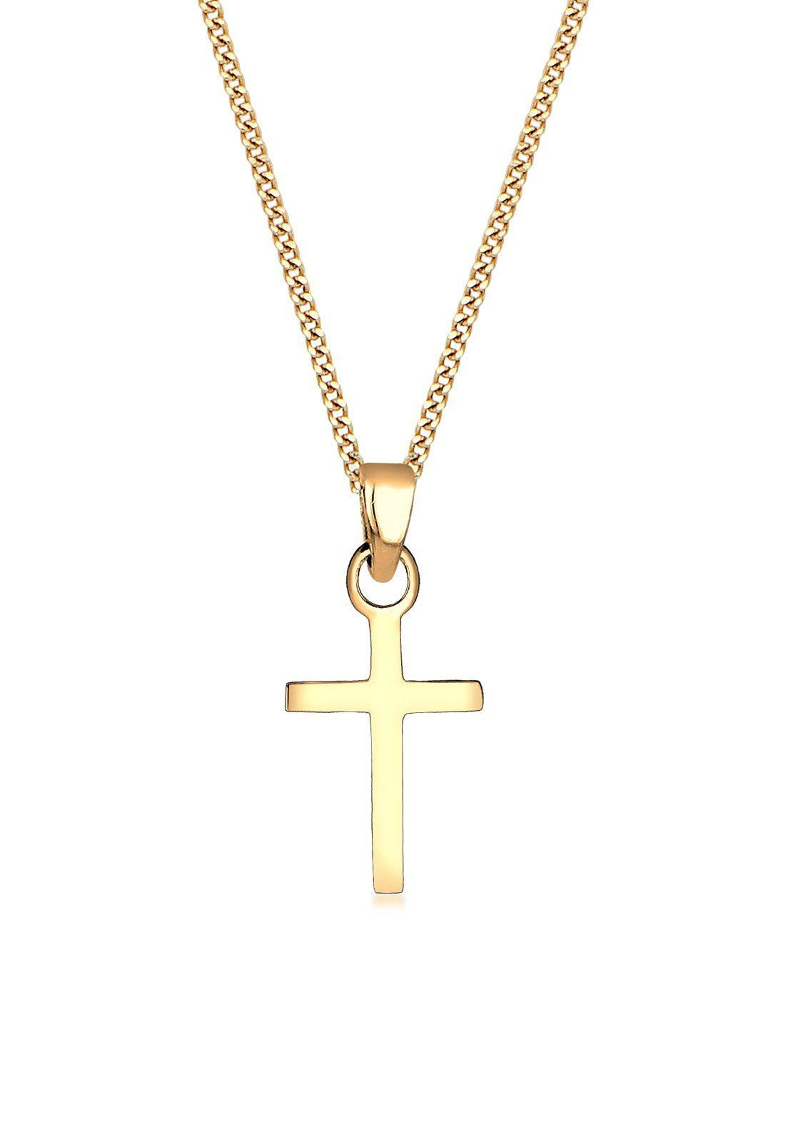 Elli Halskette »Kreuz Konfirmation Kommunion Glaube 585 Gelbgold«