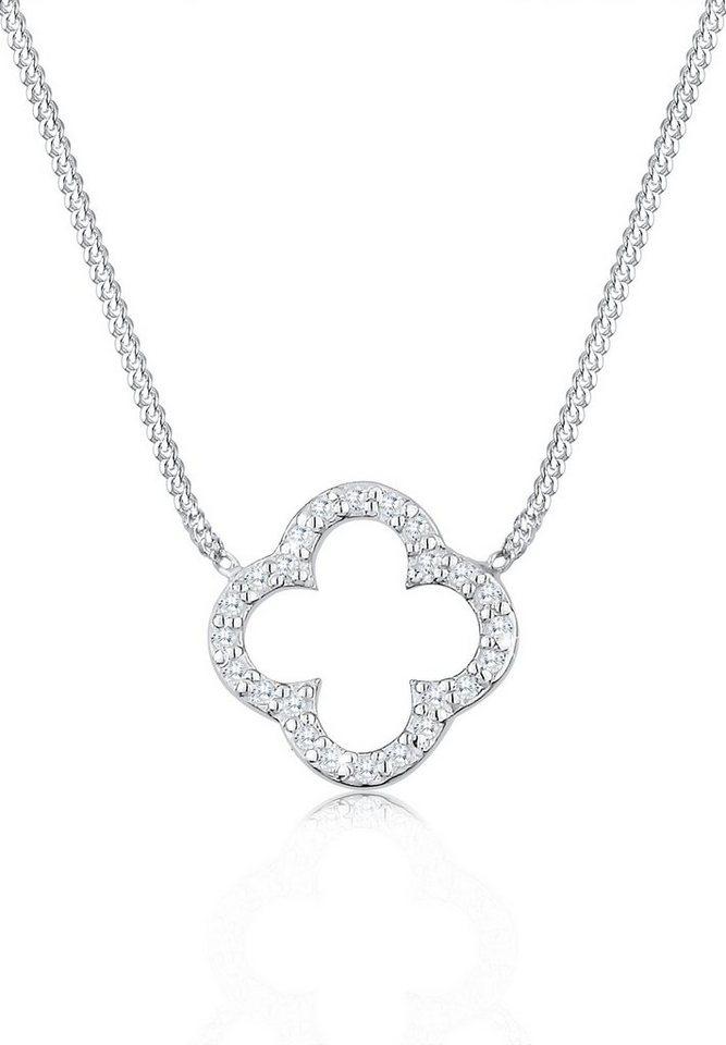 Elli Halskette »Kleeblatt Glücksbringer Zirkonia Sterling Silber« in Weiß