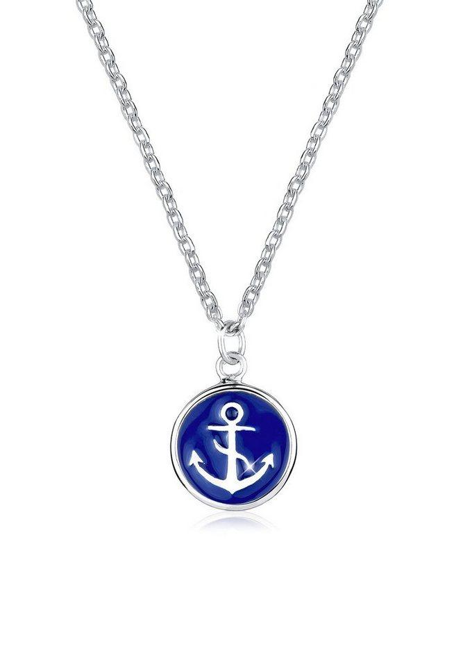 Elli Halskette »Anker 925 Sterling Silber« in Blau