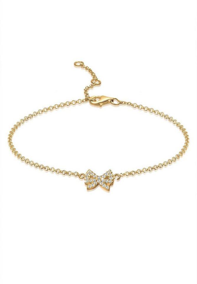 Goldhimmel Fußschmuck »925 Sterling Silber Schleife Swarovski Kristalle« in Gold