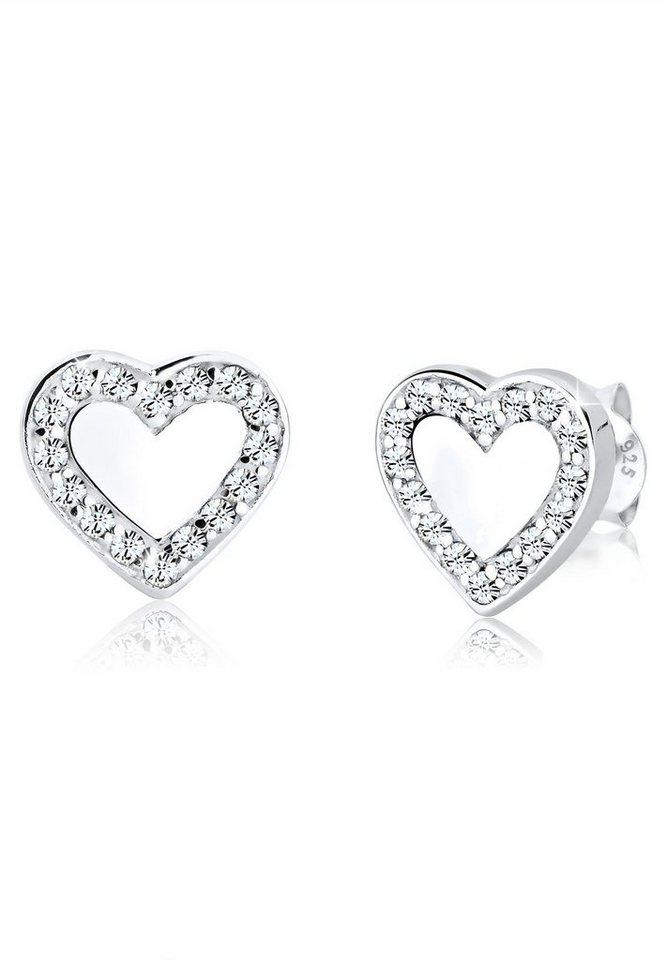 Elli Ohrringe »Herz Love Swarovski® Kristalle 925 Sterling Silber« in Weiß