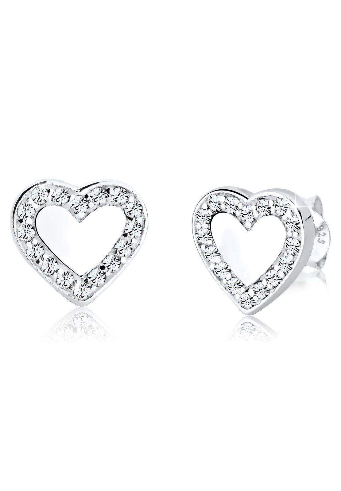 Elli Ohrringe »Herz Love Swarovski® Kristalle 925 Sterling Silber«