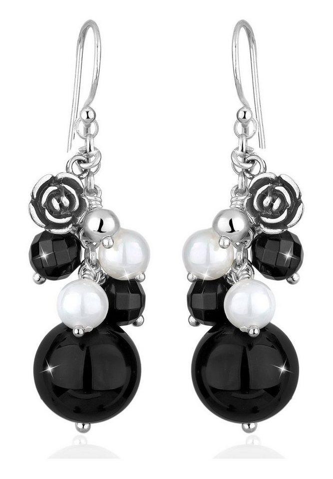 Elli Ohrringe »Rose Onyx Muschlkernperle 925 Sterling Silber« in Schwarz