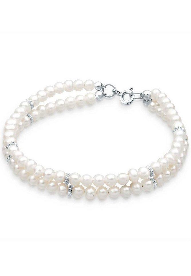 Perlu Armband »925 Sterling Silber Süßwasserzuchtperle« in Weiß