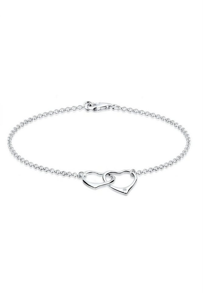 Diamore Armband »Herz Liebe Diamant 925 Sterling Silber« in Silber